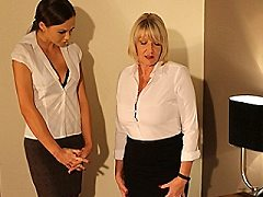 Horny housewife deepthroating and sexy mom mischa in hot lesbian encount