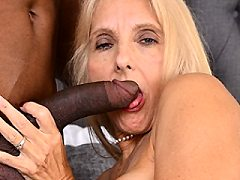 Naughty mature slut taking off a big black monster cock ends up till ass