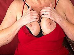 Horny American Milf lucianna playing naked wiht her tits muffdived and p