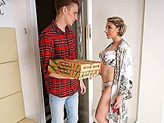 Sexy French mom gets fucked in both holes screwed by the pizza guy