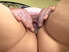 Chunky mature blonde housewife playing naked with herself