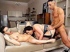 Busty UK housewife in hot bisexual threesome with a stud and his young g