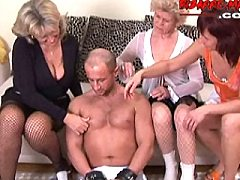 Three mature sluts doing one very lucky guy
