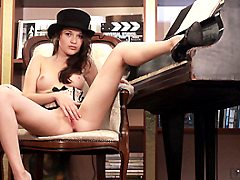 Brunette Euro Teen Olivia Loves To Not Show Some Class Play She Poses On