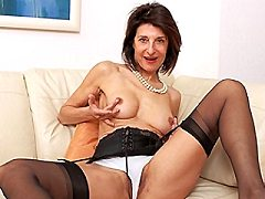 Hairy british milf housewife playing with stripping her wet pussy
