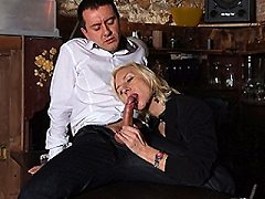 Kinky French housewife gives blowjob and is fucked in both holes