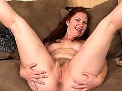 Horny mature loves flashing in public and masturbating twat at home