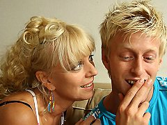 His own horny dad gets a blowjob from his mom and then from his girlfrie