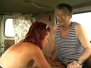 Sexy redhead bitch prepare homeless man for sex